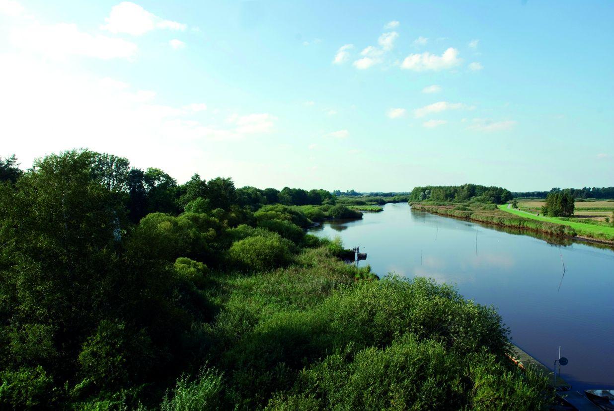 Landschaftsbild, das die Soeste und die umliegende Natur zeigt.