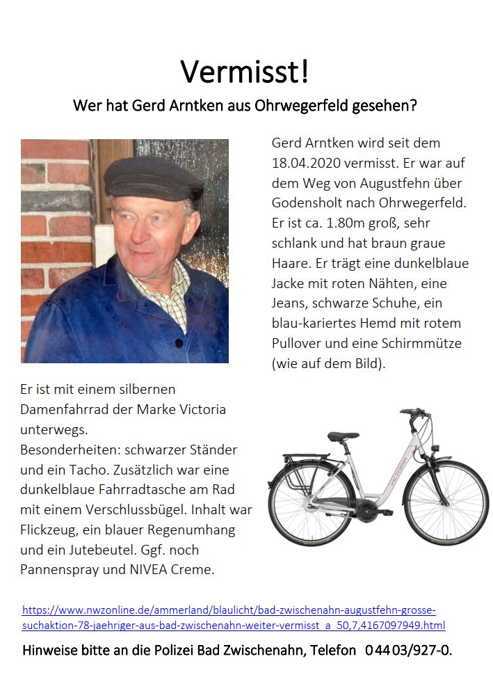 Flugblatt: Vermisstenanzeige Gerd Arntken