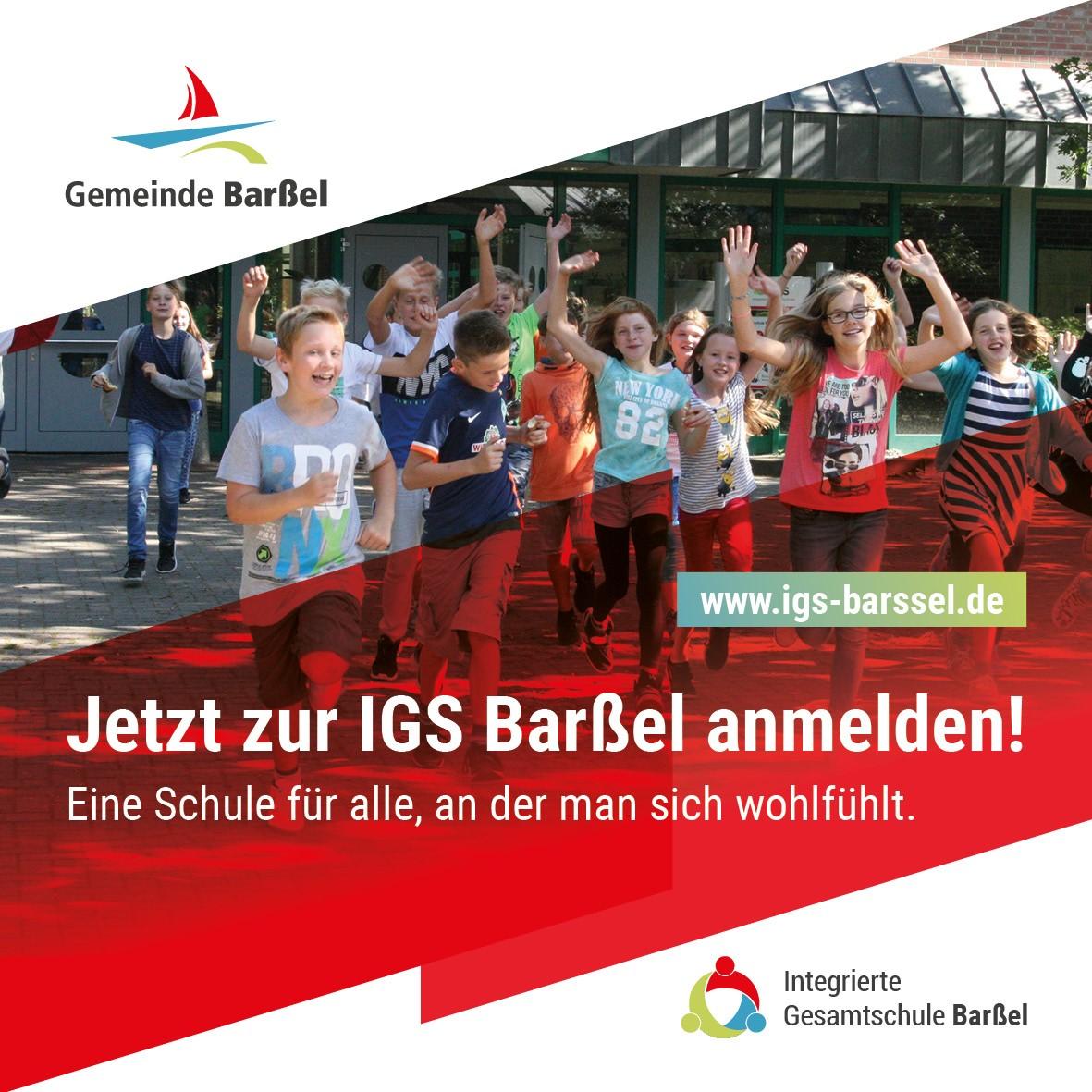Werbebanner zur IGS-Anmeldung.