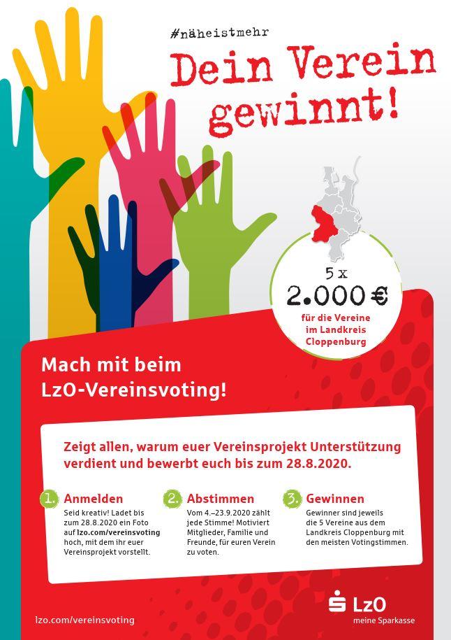 Flyer des LzO-Vereinsvotings. Weitere Informationen unter: lzo.com/vereinsvoting.