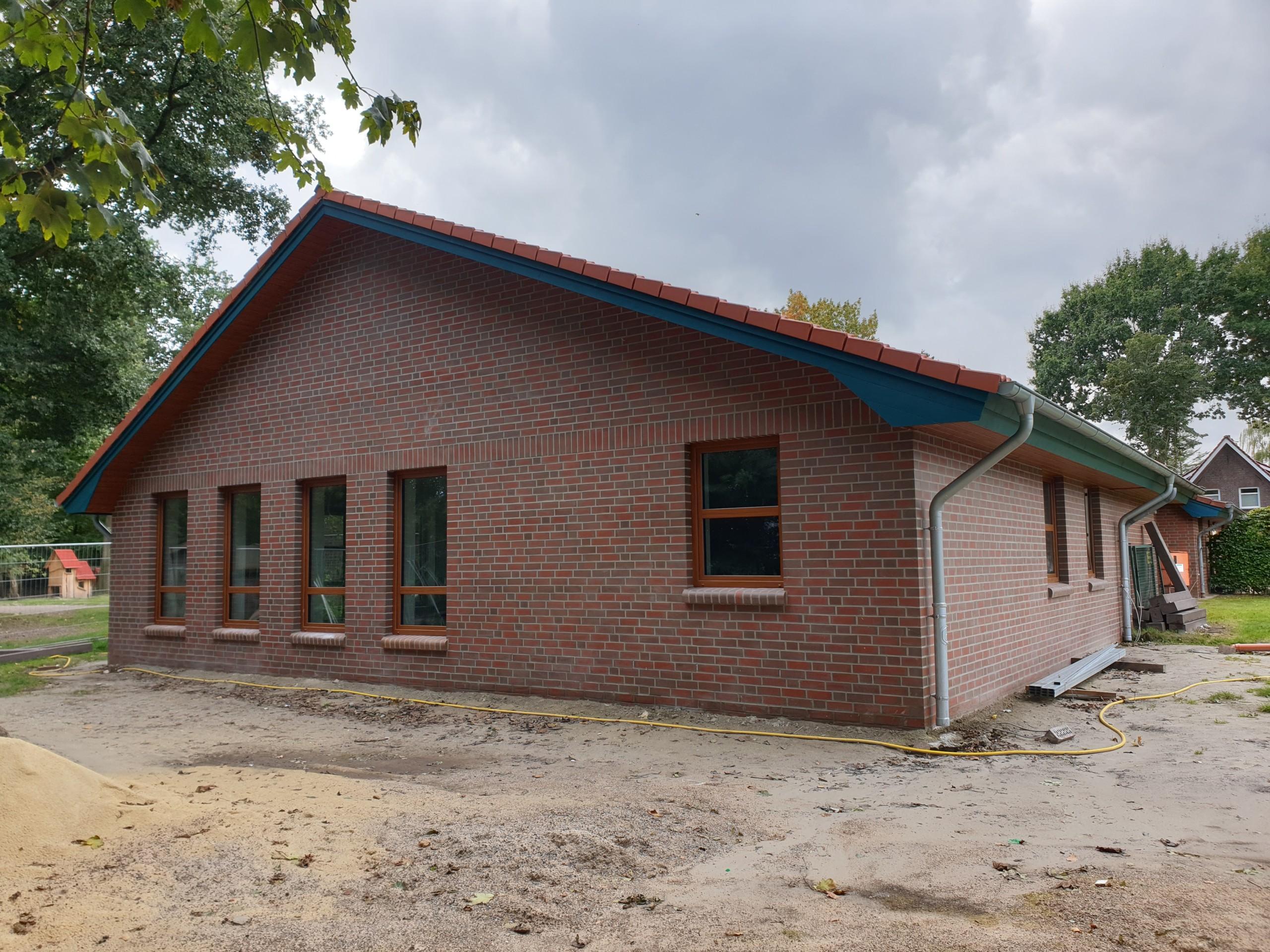Aktueller Stand der Baumaßnahme beim Jona-Kindergarten in Elisabethfehn. Aufnahme: Peteres/Gemeinde Barßel