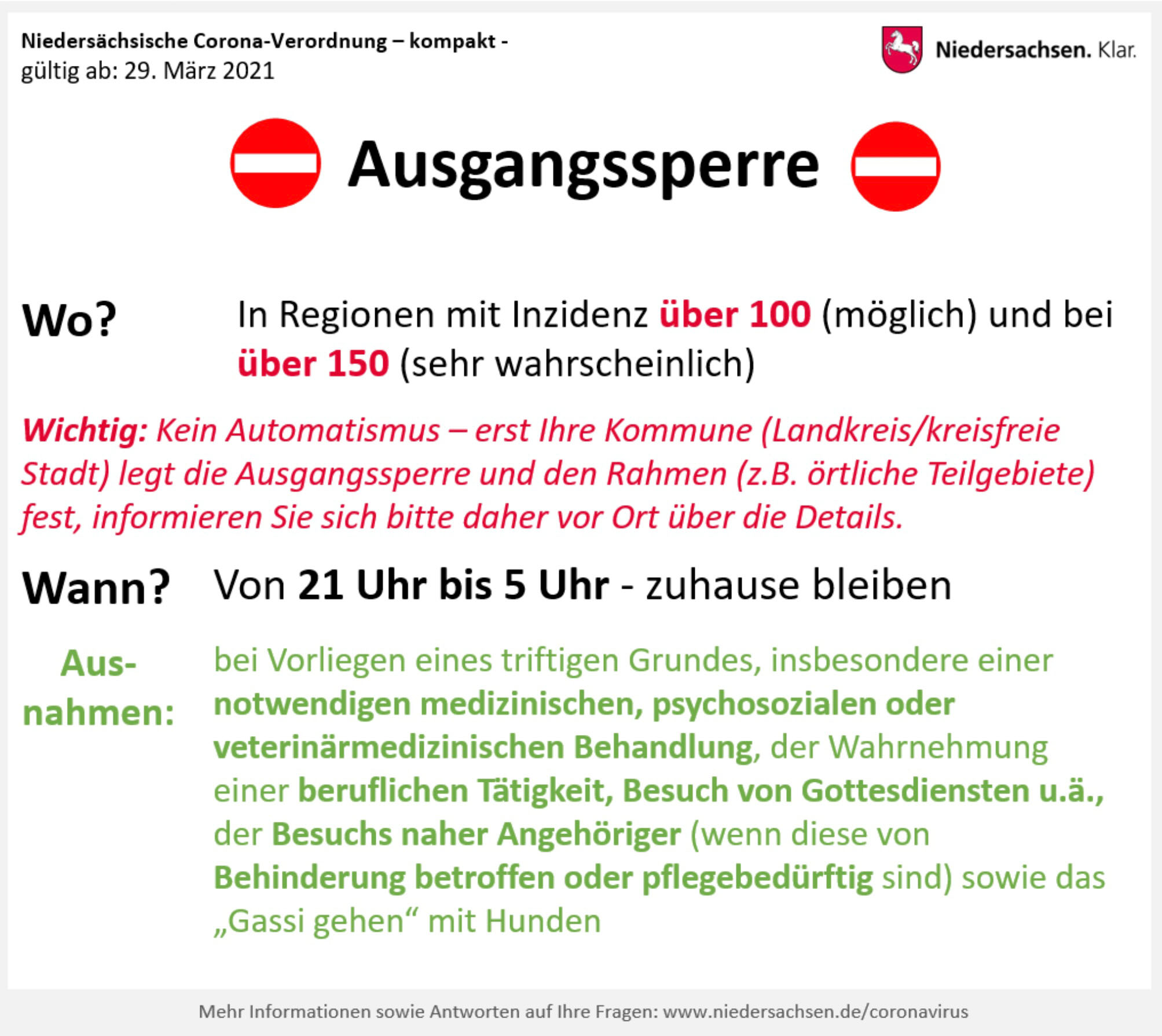 Grafik Ausgangssperre. Bildquelle: Land Niedersachsen