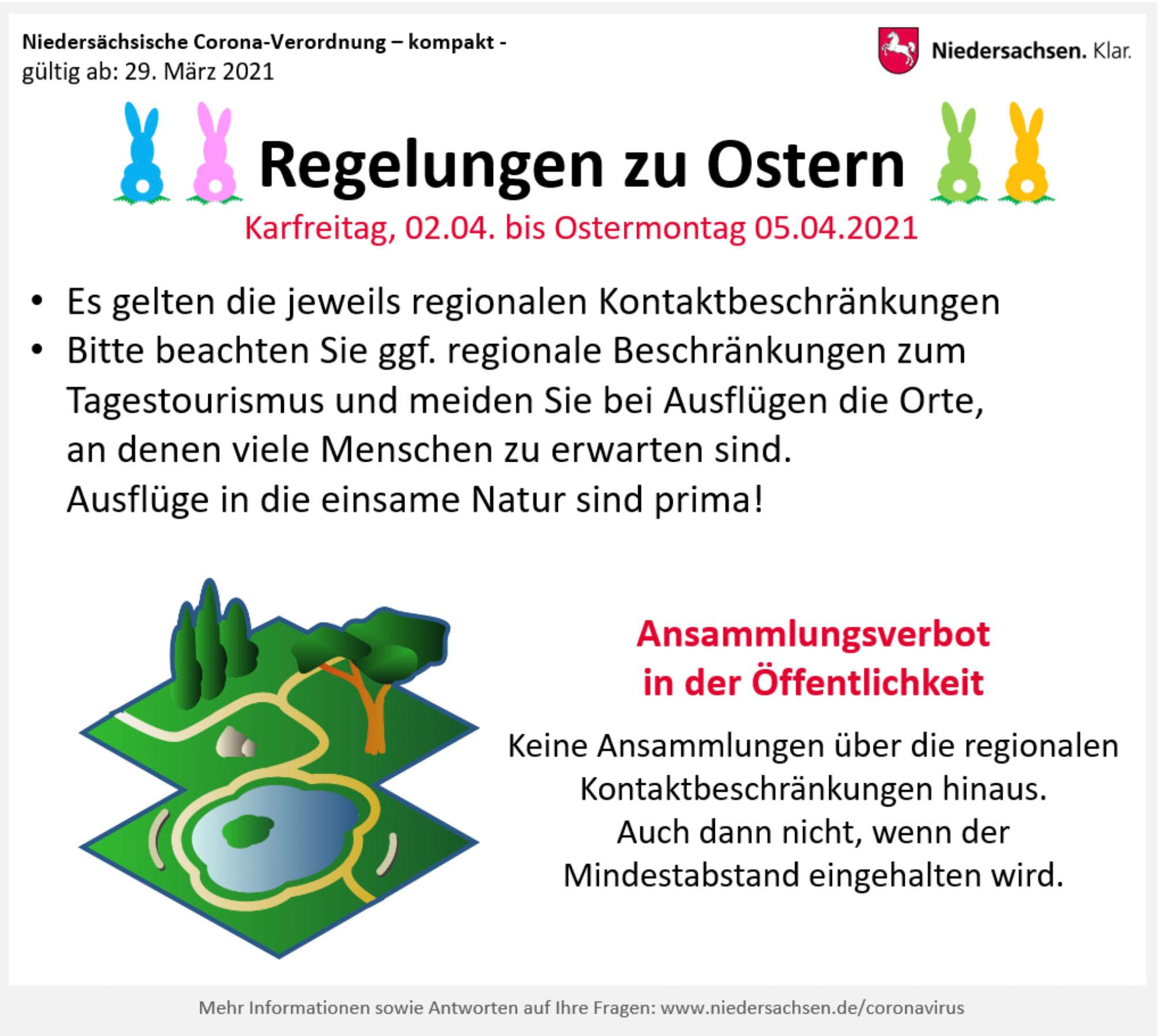 """Grafik """"Regelungen zu Ostern. Bildquelle: Land Niedersachsen"""