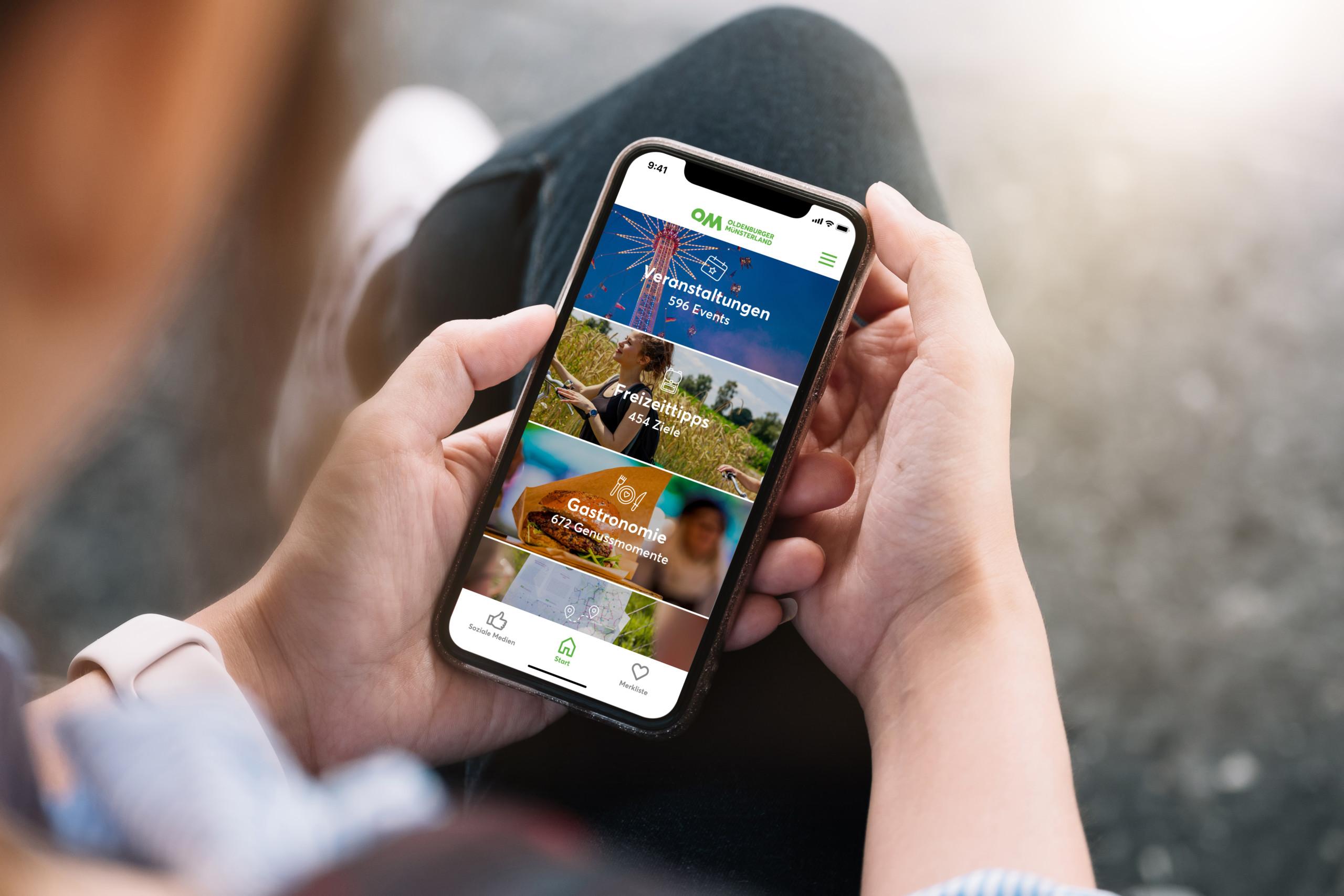 """Die App """"Mein OM"""" vom Oldenburger Münsterland zeigt Tipps über Veranstaltungen, Gastronomie und kulturelle Angebote an. Bild: Verbund Oldenburger Münsterland"""